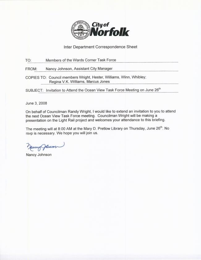 Mayor\'s Wards Corner Task Force Invitation