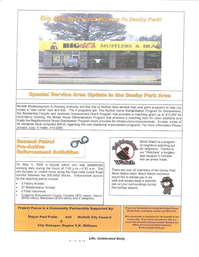 Project Focus Denby Park November Newsletter pg.2
