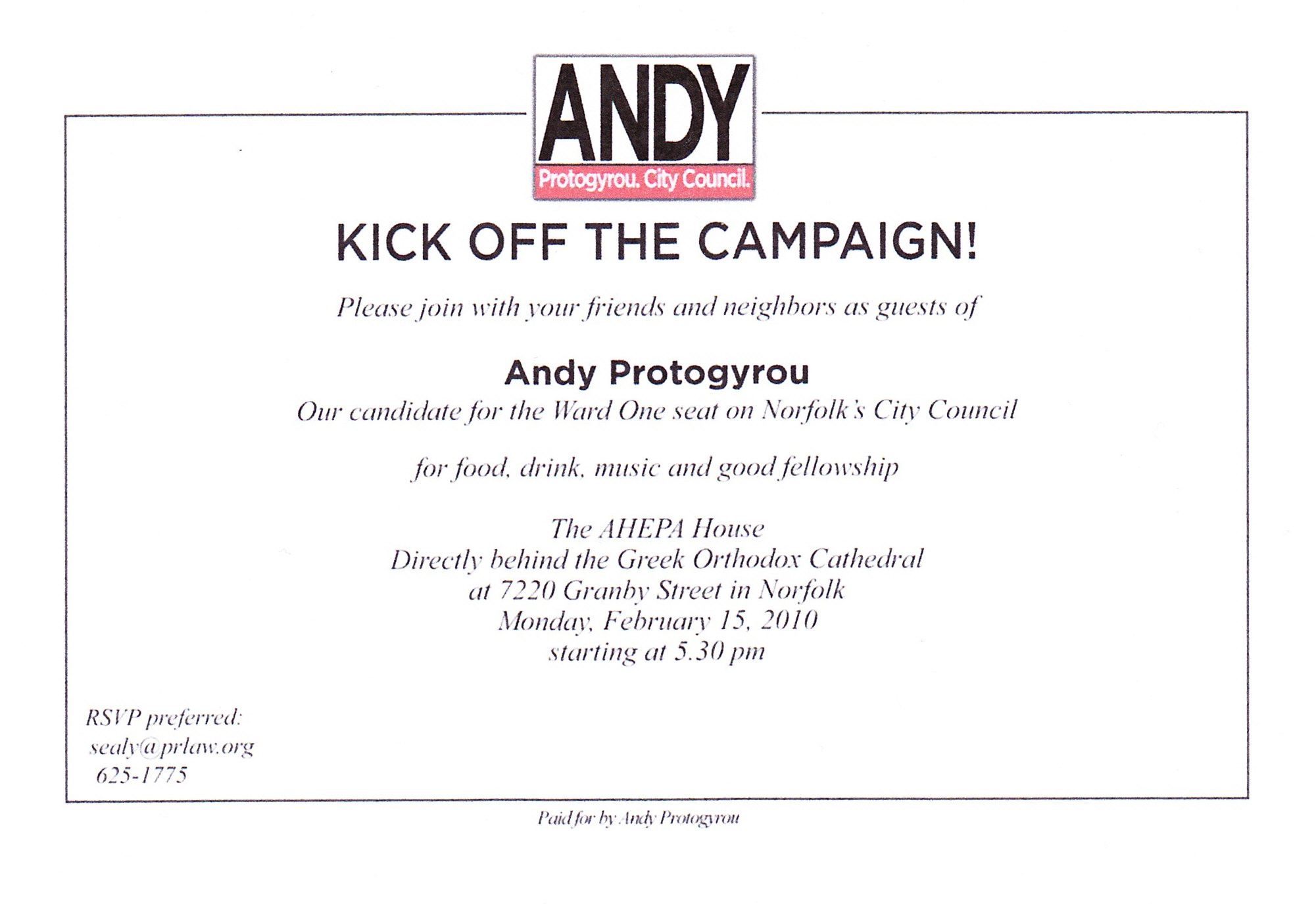 Ward One Council candidate Andy Protogyrou's campaign kick ...