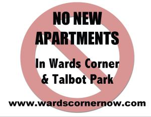"""No New Apartments"" signs are available in protest Collins Enterprises LLC's request to build apartments rather than condos as originally promised"