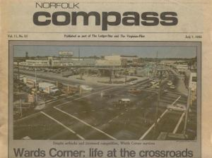 "orfolk Compass, July 8, 1985 - ""Despite setbacks and increased competition, Wards Corner survives"""