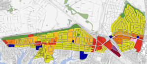 Image from the 2004 Greater Wards Corner Comprehensive Study showing the mostly single family, auto centric land use in the study area (yellow)