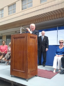 "Mayor Paul Fraim celebrating, ""Wards Corner is Back!"""