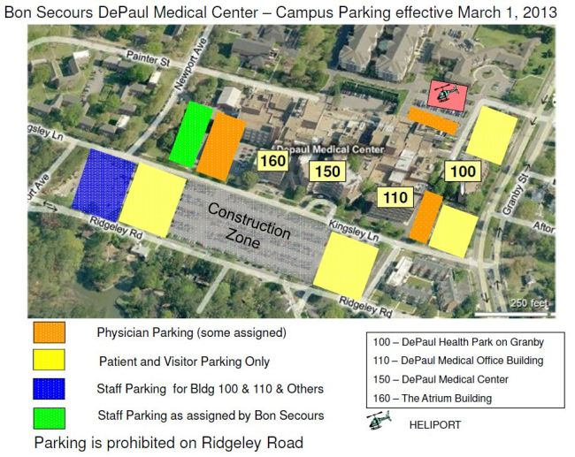New parking areas at DePaul Medical Center starting March 1, 2013