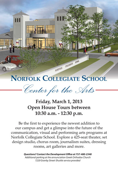 Norfolk Collegiate Center for the Arts Grand Opening Invitation