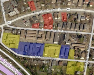 Denby Park properties to be purchased by City of Norfolk. YELLOW highlighted properties are to be purchased in 2014.  RED highlighted properties were purchased in 2013. BLUE highlighted properties were purchased in 2011.