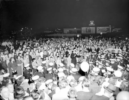 Crowds gathered at the formal opening of the Midtown Shopping Center in Norfolk on the evening of October 29, 1947. Photos by Virginian-Pilot photographer Charles Borjes c/o The Saregant Memorial Collection.