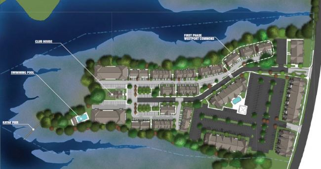 Proposed site plan including apartments to the bottom right and townhouses to the left