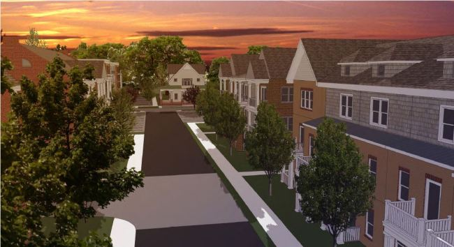 View down a street of proposed townhouses