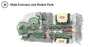 Main Entrance and Pocket Park