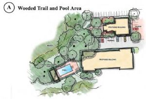 Wooded Trail and Pool Area
