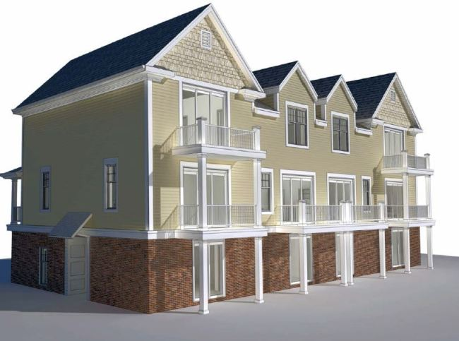 Rear elevation of the proposed Westport Commons Townhouses.